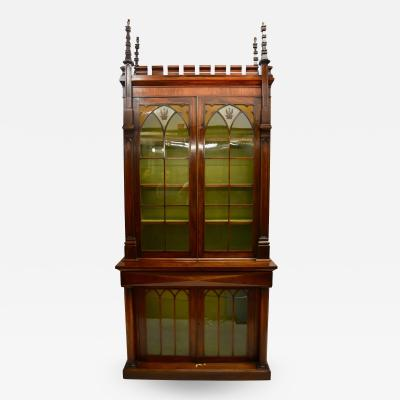 An English Rosewood Gothic Style Bookcase