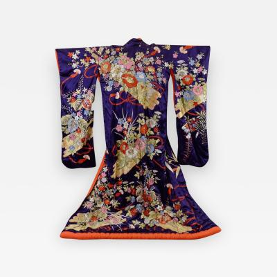An Exceptional Embroidered Brocade Vintage Japanese Ceremonial Kimono