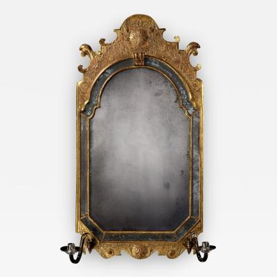 An Exceptional English Example of an Antique Queen Anne Period Gilded Mirror