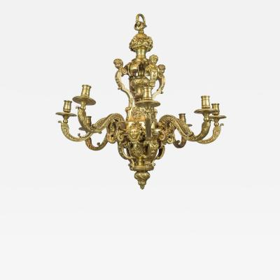An Exceptional High Quality of R gence Style Gilt Bronze Eight Light Chandelier