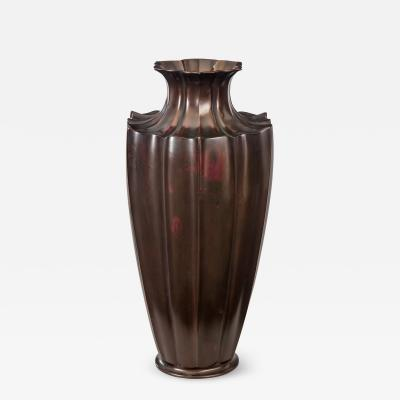 An Exceptional Japanese Patinated Bronze Lotus Flower Vase
