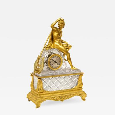 An Exquisite French Empire Ormolu and Cut Crystal Clock c 1815