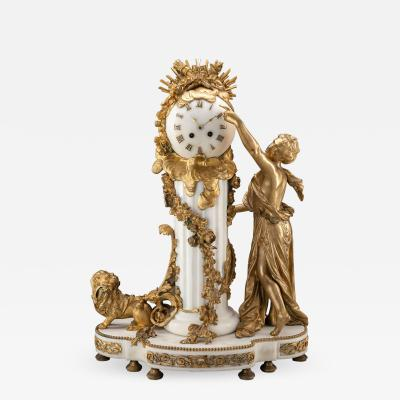 An Exquisite Louis XVI style Gilt Bronze and Marble Figural Mantel Clock