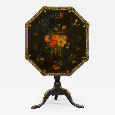 An Extremely Rare Pair Of George III Lacquer And T le Peinte Center Tables