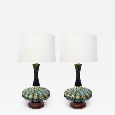 An Iconic Pair of Mid Century Green Mottled Glazed Globular Lamps