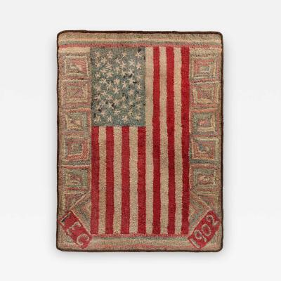 An Important Early American Flag Documented Hooked Rug