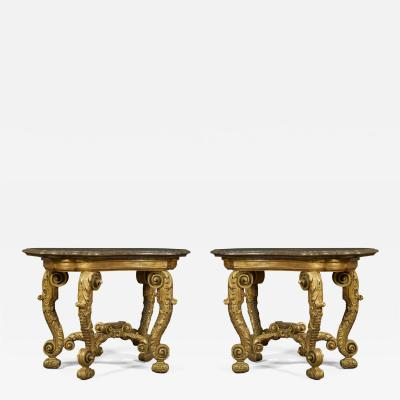 An Imposing Pair Of Giltwood Console Tables Bearing Their Original Marble Tops