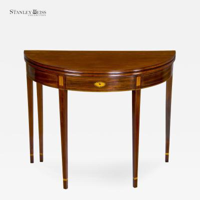 An Inlaid Mahogany Hepplewhite Demi lune Card Table with Five Legs c 1800