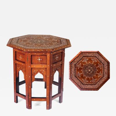 An Intricately Inlaid Anglo Indian Octagonal Side Table with Bone Inlay