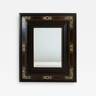 An Italian Baroque Ebonized Specimen Marble and Bone Inlaid Mirror mid 18th C