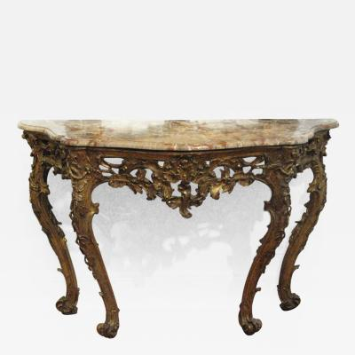 An Italian Carved and Gilded Console with Marble Top