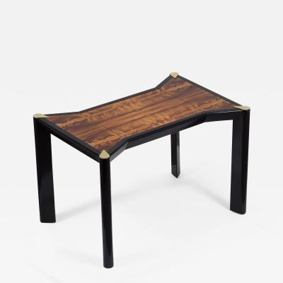 An Italian Ebonised Wood and Brass Games Table 1950s