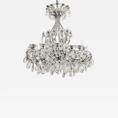 An Italian Wrought Iron Crystal Beaded Chandelier