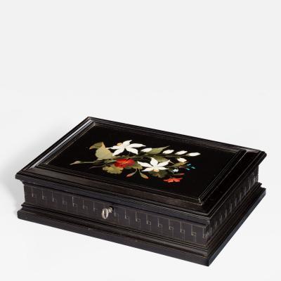 An Italian rectangular pietra dura and ebony box