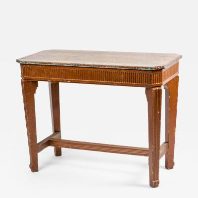 An Oak Console Table with Painted Base