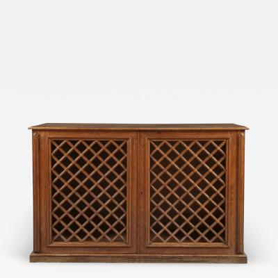 An Oak Two Door Library Cabinet With Unusual Original Lattice Wooden Grills