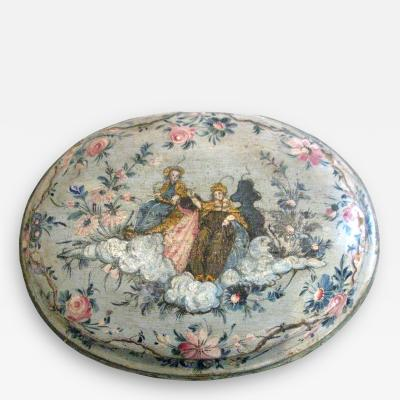 An Oval Floral Decorated Blue Lacquer Box with Female Figures on the Center Top