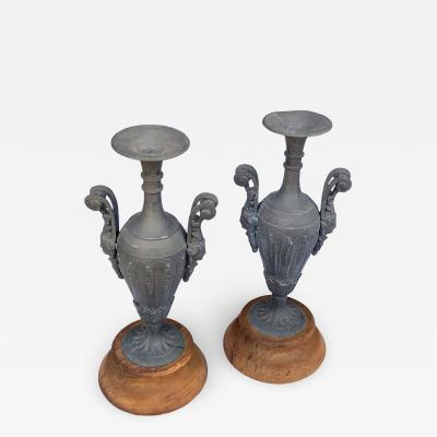 An Pair of French Louis XVI Style Double Handled Spelter Metal Urns