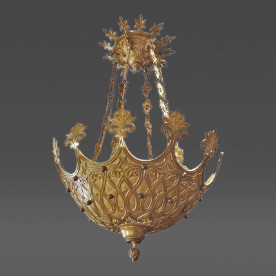 An Unusual Gilt Bronze Chandelier