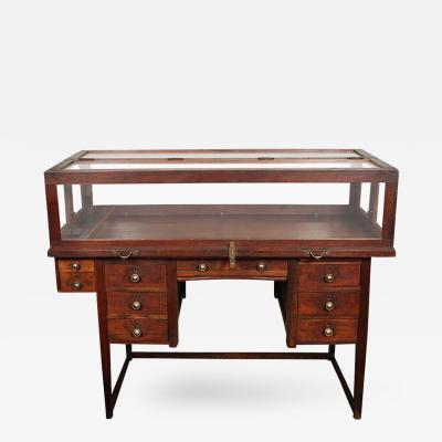 An Unusual Jewelers Work Desk and Display Case on Stretcher Base