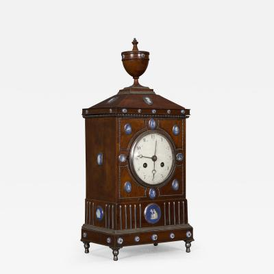 An Unusual Mahogany Steel And Wedgwood Mounted Mantel Clock