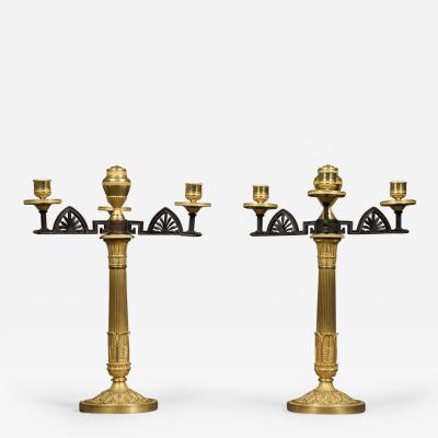 An Unusual Pair Of Gilt And Patinated Bronze Four Light Neoclassical Candelabra