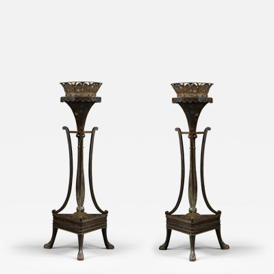 An Unusual Pair of Painted Torcheres With T le Crowns of Large Scale