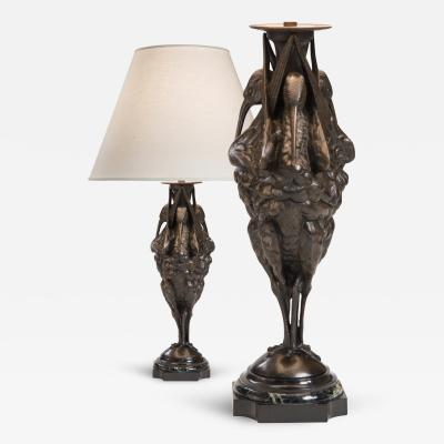 An Unusual Pair of Patinated Bronze and Marble Sculptures Now Table Lamps