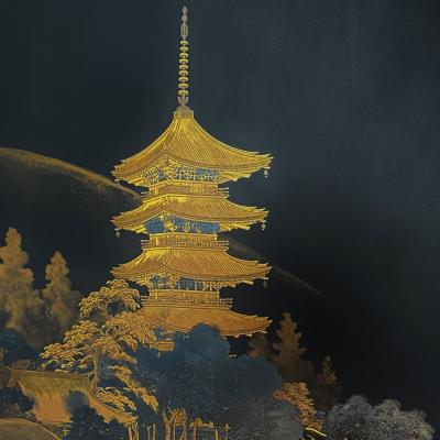 An early 20th Century Japanese Iron panel depicting a five storey Pagoda