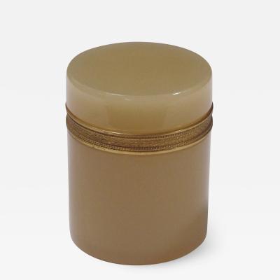 An elegant French opaline trinket jar with gilt bronze mounts