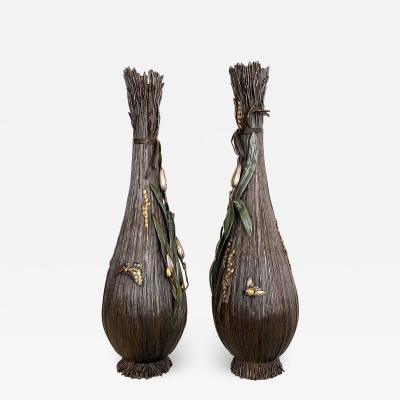 An exceptional and unusual pair of 19th Century Bronze Japanese vases