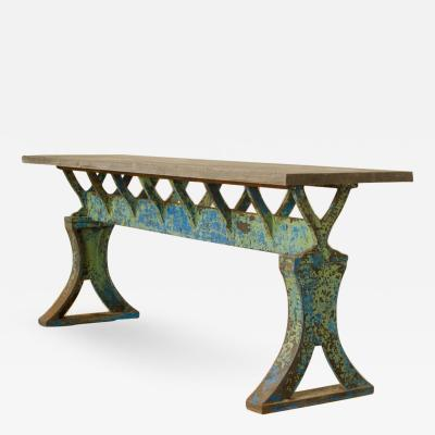 An imposing 19th Century French iron Industrial console table with slate top