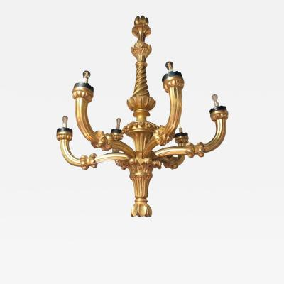 An impressive late 19th C hand carved Italian giltwood chandelier