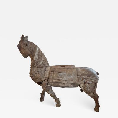An impressive wood carved horse Mogol period India XVIIth century