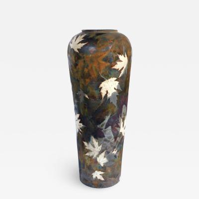 An impressively large American raku ceramic art pottery vase signed