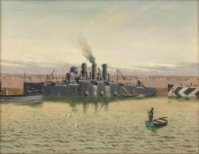 An oil on canvas by R G Thurgood HM Cruiser Vindictive April 1918