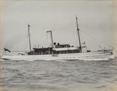 An original gelatine print of a gentleman s steam yacht
