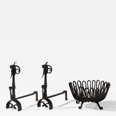Andirons and Wood Holder in Wrought Iron