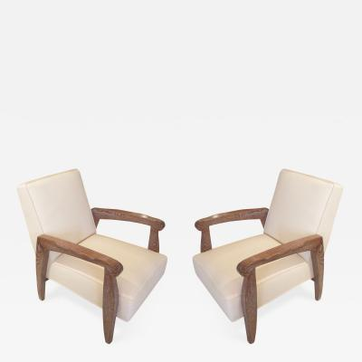 Andr Arbus A Custom Pair of Cerused Oak Lounge Chairs in the Manner Of Andre Arbus