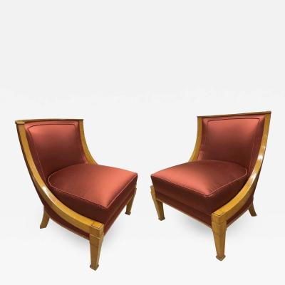 Andr Arbus Andr Arbus Chicest Pair of Slipper Chairs Newly Covered in Satin