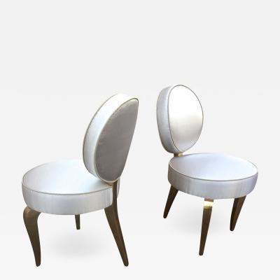 Andr Arbus Andre Arbus Pair of Charming Lady Room Chairs Covered in Silk Satin