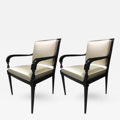 Andr Arbus Andre Arbus Pair of Chic Neoclassic Black Lacquered Wood Chairs Covered in Silk