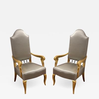 Andr Arbus Andre Arbus attributed majestic pair of gold leaf chairs covered in silk satin