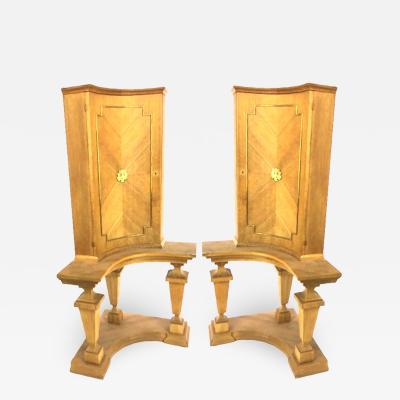 Andr Arbus Andre Arbus attributed pair of Neo classic corner classy cabinet