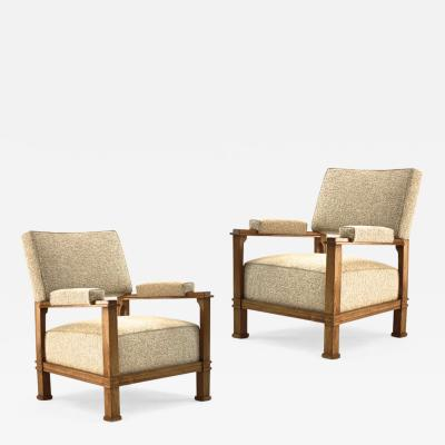 Andr Arbus Andre Arbus documented pair of oak comfy lounge chairs