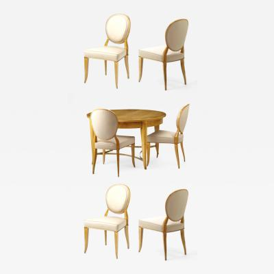 Andr Arbus Andre Arbus documented rarest sycamore dinning set with 6 chairs