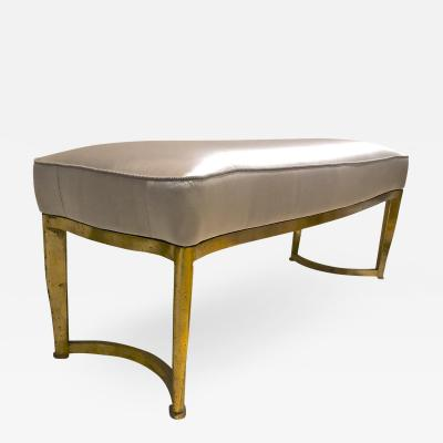 Andr Arbus Andre Arbus long curved refined bench with gold leaf metal base