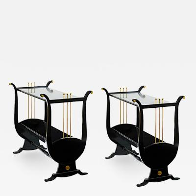 Andr Arbus Andre Arbus pair of harp shaped black lacquered and gold accent side table