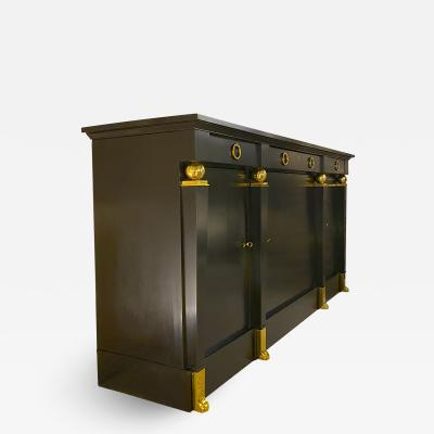 Andr Arbus Andre Arbus rarest large black lacquered cabinet with gold bronze accent