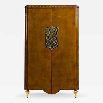 Andr Arbus French Mid Century Light Brown Lacquered 2 Door Armoire Cabinet